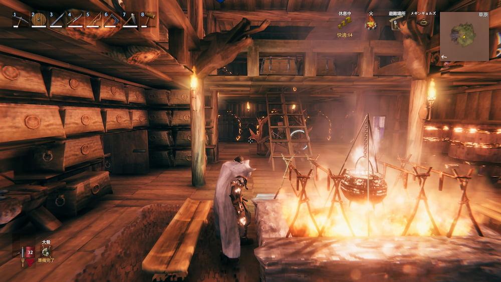 暖炉(部屋中央)